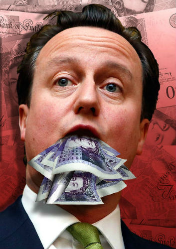 David Cameron eats money