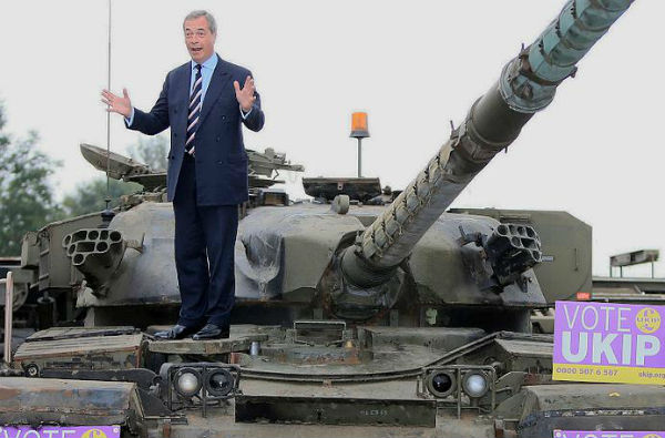 Nigel Farage on a tank