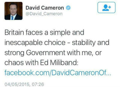 Cameron election tweet