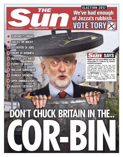 Sun front page election day 2017